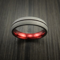 Titanium Band Custom Red Metalic Anodized Color Design Ring Any Size Band - Revolution Jewelry  - 2