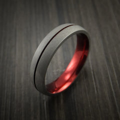 Titanium Band Custom Red Metalic Anodized Color Design Ring Any Size Band - Revolution Jewelry  - 4