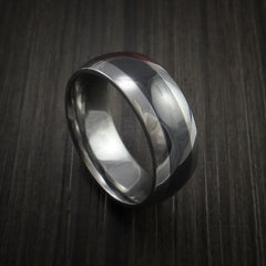 Black Ceramic Ring with Tungsten Center Durable Custom Made Ring by Revolution Jewelry