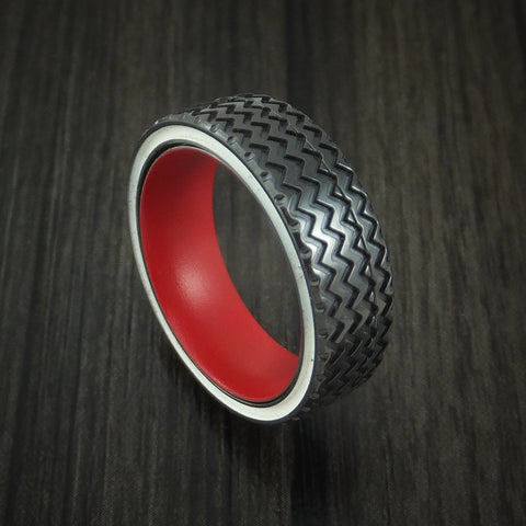 Black Zirconium Hot Rod White Wall Tire Spinner Ring with Cerakote Sleeve Custom Made Band
