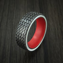 Black Zirconium Hot Rod White Wall Tire Tread Spinner Ring with Cerakote Sleeve Custom Made Band
