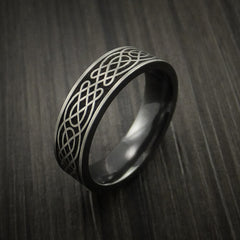 Black Zirconium Celtic Irish Knot Ring Carved Pattern Design Band Any Size Ring by Revolution Jewelry