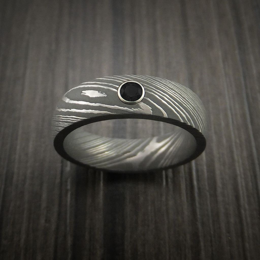 Damascus Steel Ring with Round Brilliant Black Diamond