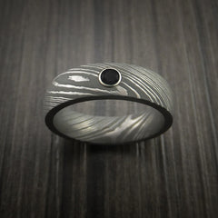Damascus Steel Ring with Round Brilliant Black Diamond - Revolution Jewelry  - 2