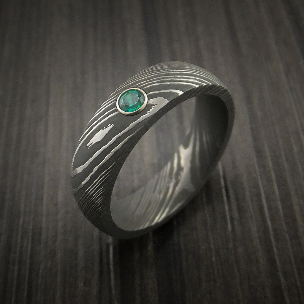 Damascus Steel Ring with Round Brilliant Green Emerald Stone