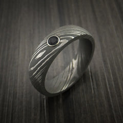 Damascus Steel Ring with Round Brilliant Black Diamond - Revolution Jewelry  - 4