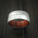 Kuro Damascus Steel and Cobalt Chrome Ring with Cocobolo Sleeve Custom Made Band