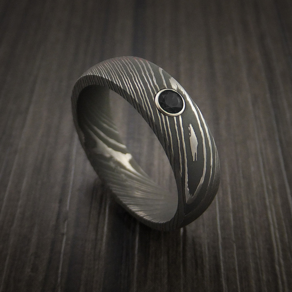 Damascus Steel Ring with Round Brilliant Black Diamond - Revolution Jewelry  - 1