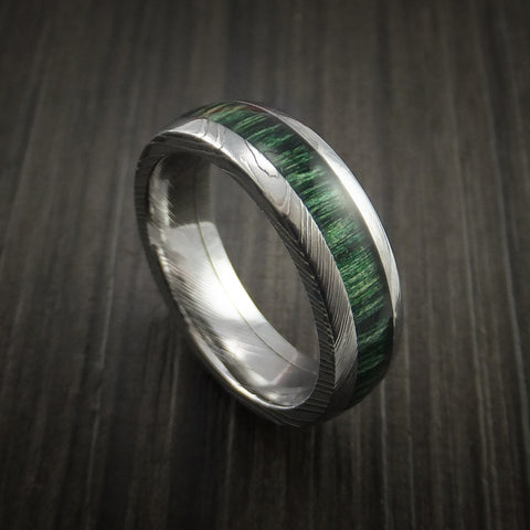 Damascus Steel Ring Inlaid with Jade Hard Wood