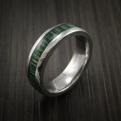 Damascus Steel Ring Inlaid with French Green Hard Wood - Revolution Jewelry  - 4