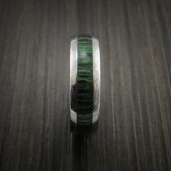 Damascus Steel Ring Inlaid with French Green Hard Wood - Revolution Jewelry  - 3