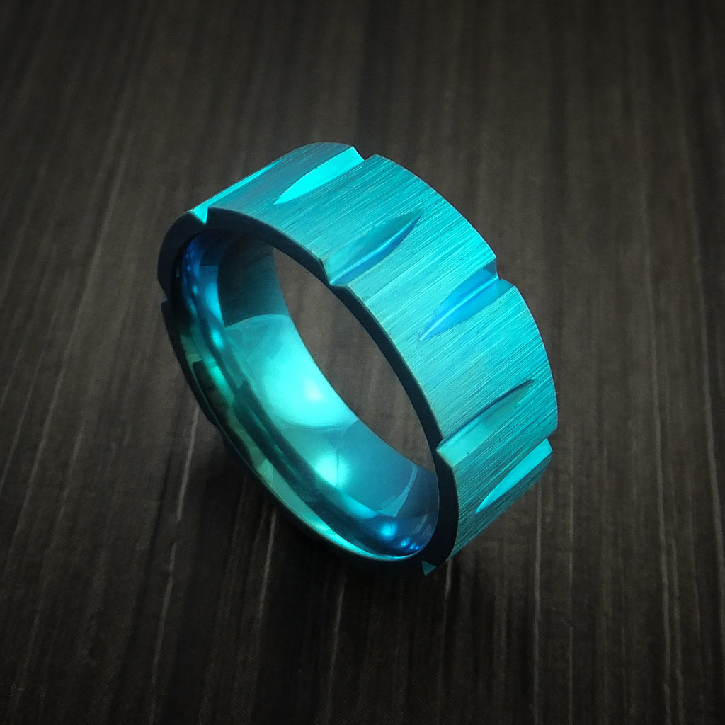 Titanium Wedge Cut Wedding Band with Turquoise Anodizing Ring Made to Any Size - Revolution Jewelry  - 1