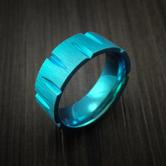 Titanium Wedge Cut Wedding Band with Turquoise Anodizing Ring Made to Any Size - Revolution Jewelry  - 3