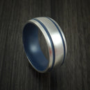 Titanium Ring with Civil Defense Blue Cerakote Grooves and Sleeve Custom Made Band