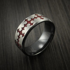 Black Zirconium Ring with Fleury Cross Red Anodized Inlay by Revolution Jewelry