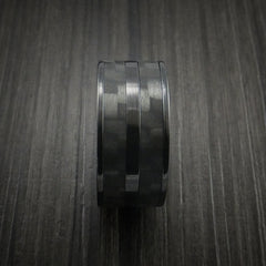 Black Zirconium Ring with Black Carbon Fiber Inlay Custom Made Band by Revolution Jewelry