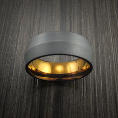 Black Zirconium Peaked Ring with Bronze Anodized Center Custom Made Band by Revolution Jewelry