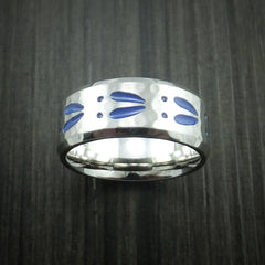 Cobalt Chrome Hammer Finish Deer Tracks Band Hunters Ring Made to Any Sizing and Color by Revolution Jewelry