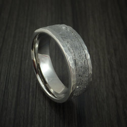 Titanium Hammered Ring with Gibeon Meteorite Inlay Custom Made