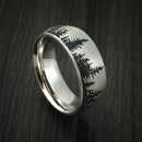 Platinum Ring with Pine Tree Design Custom Made Band