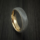 Damascus Steel Ring with 14k Yellow Gold Sleeve Custom Made Band