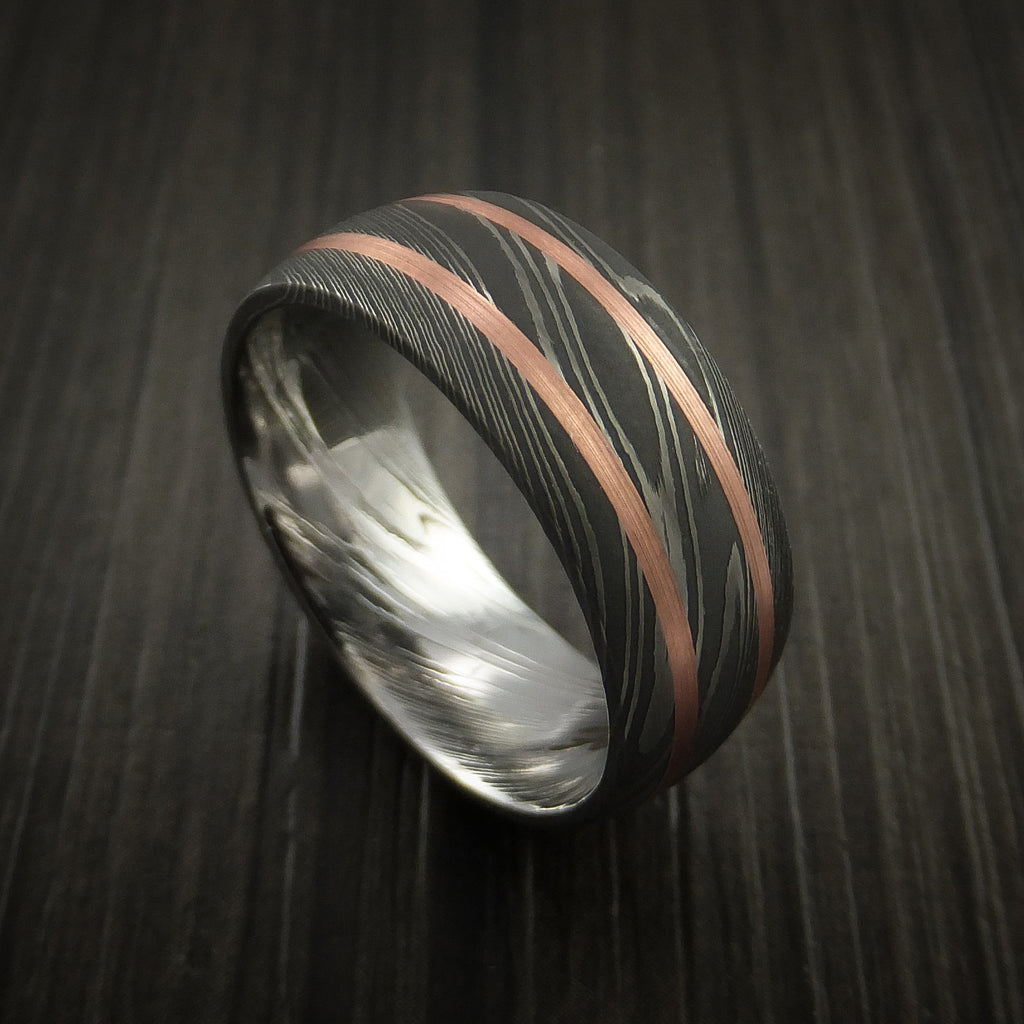 fa7bc2deb8e76 Damascus Steel Ring with Copper Inlays Custom Made Band