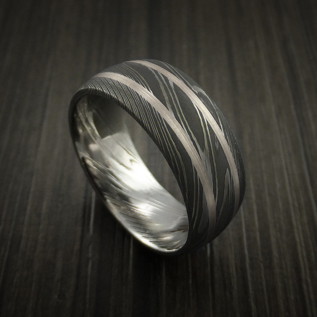 Damascus Steel Ring with White Gold Inlays Custom Made Band - Revolution Jewelry  - 1