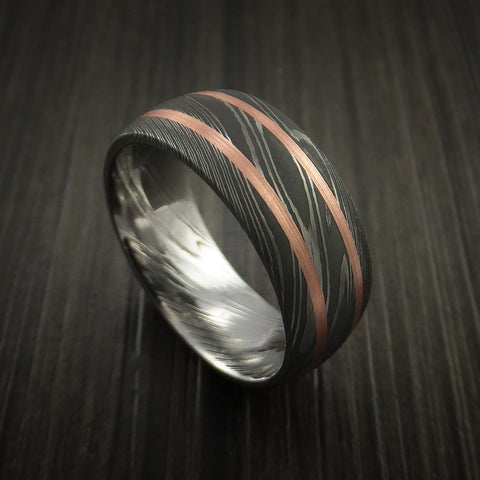 Damascus Steel Ring with Copper Inlays Custom Made Band