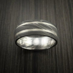 Damascus Steel Ring with White Gold Inlays Custom Made Band - Revolution Jewelry  - 2