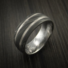 Damascus Steel Ring with White Gold Inlays Custom Made Band - Revolution Jewelry  - 3