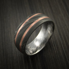 Damascus Steel Ring with Copper Inlays Custom Made Band - Revolution Jewelry  - 3