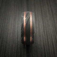 Damascus Steel Ring with Copper Inlays Custom Made Band - Revolution Jewelry  - 4