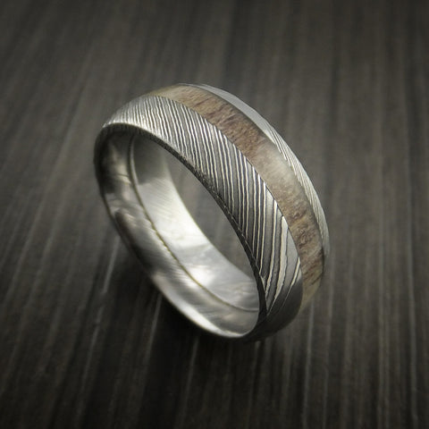 Deer Antler Ring inlaid in Solid Damascus Steel Hunters Wedding Band Custom Made