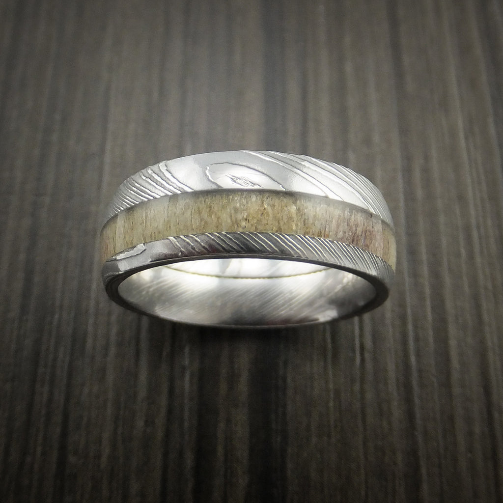 Deer Antler Ring inlaid in Solid Damascus Steel Hunters Wedding Band
