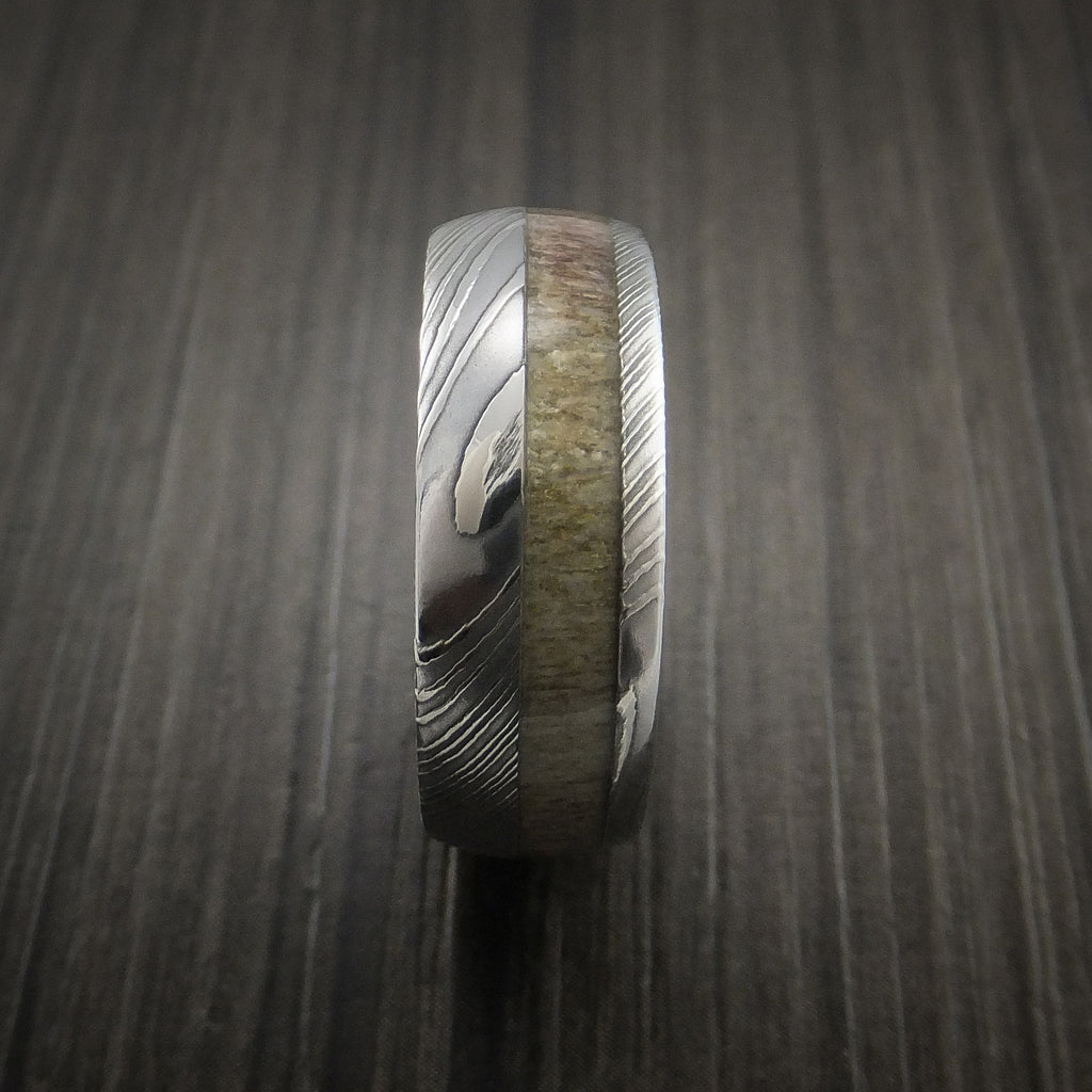 deer antler ring inlaid in solid damascus steel hunters wedding band custom made outdoorsman wedding band Deer Antler Ring inlaid in Solid Damascus Steel Hunters Wedding Band Custom Made Revolution Jewelry