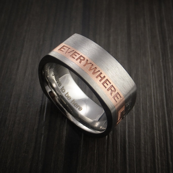 Personalized 14k Rose Gold and Titanium Ring Square Band Modern Style