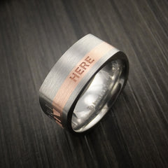 Personalized 14k Rose Gold and Titanium Ring Square Band Modern Style - Revolution Jewelry  - 5