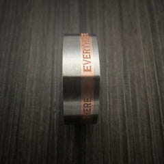 Personalized 14k Rose Gold and Titanium Ring Square Band Modern Style - Revolution Jewelry  - 7
