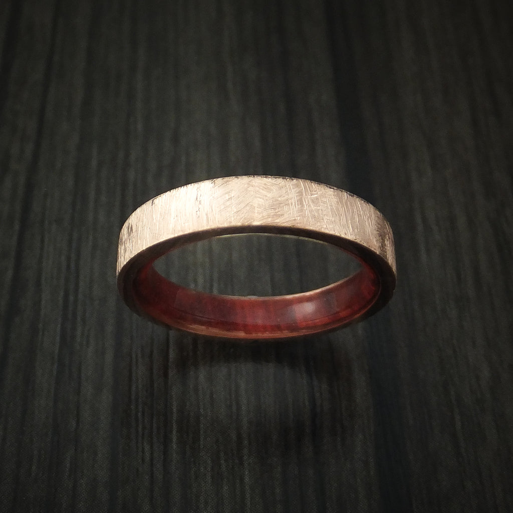 14K Rose Gold Band with Distressed Finish and Red Heart Wood Sleeve Custom Made