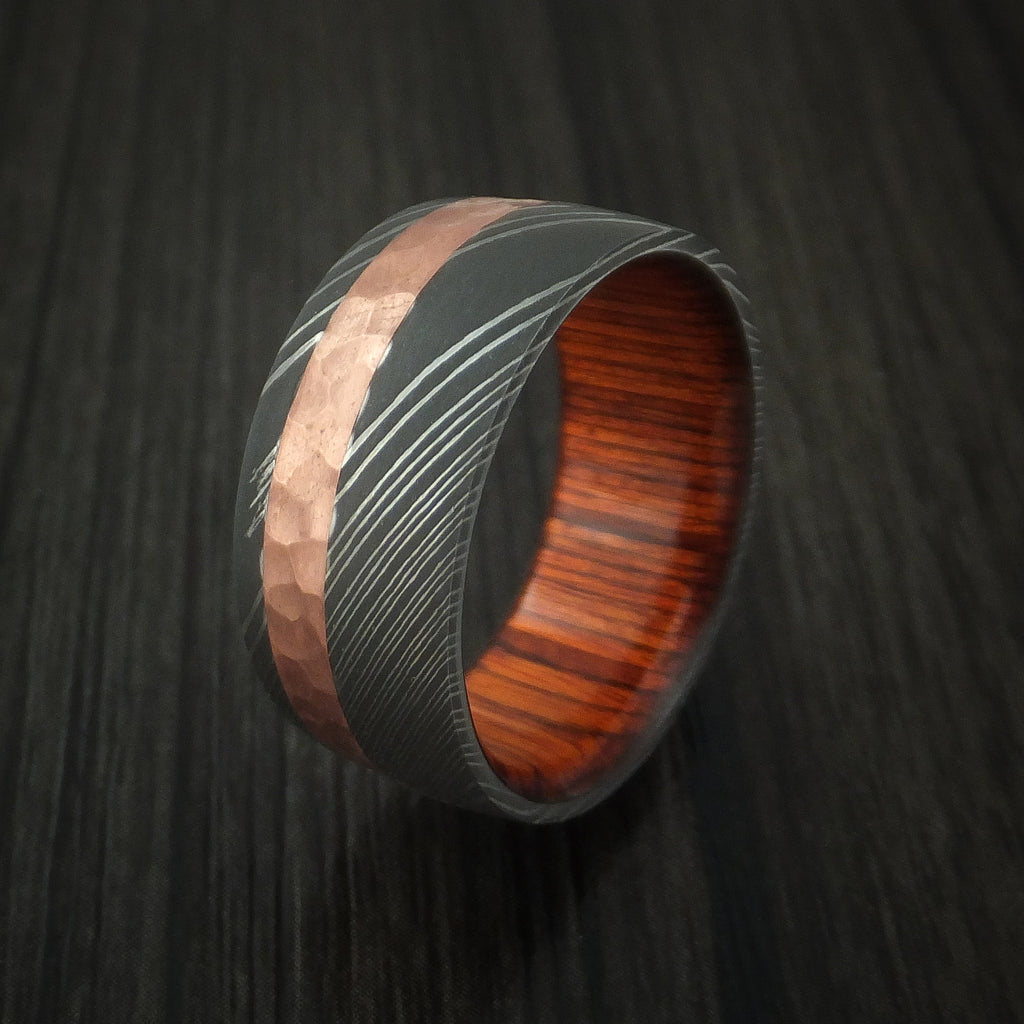 Damascus Steel And Hammered Copper Ring With Cocobolo Hardwood Sleeve Revolution Jewelry Designs