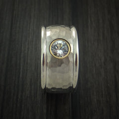 14K White Gold Band with Sapphire and Hammer Finish Custom Made Ring - Revolution Jewelry  - 5