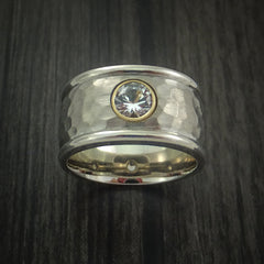 14K White Gold Band with Sapphire and Hammer Finish Custom Made Ring by Revolution Jewelry