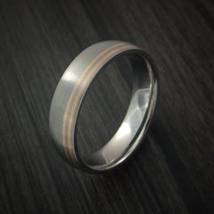 Titanium Band with 14K Rose Gold Inlays Custom Made Ring - Revolution Jewelry  - 4