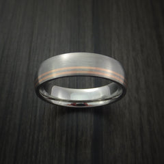 Titanium Band with 14K Rose Gold Inlays Custom Made Ring - Revolution Jewelry  - 2