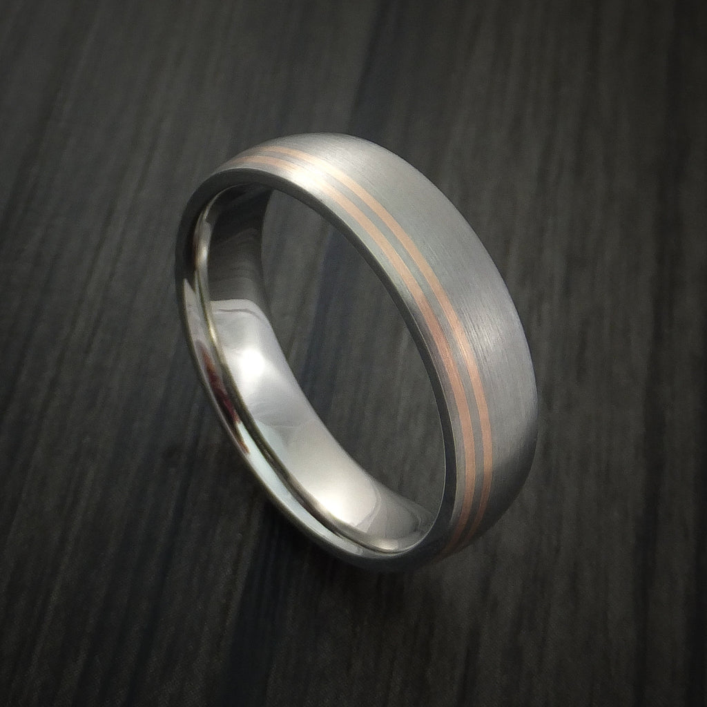 Titanium Band with 14K Rose Gold Inlays Custom Made Ring - Revolution Jewelry  - 1