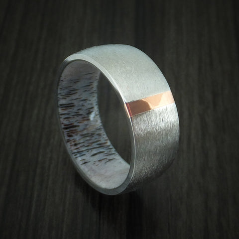 Cobalt Chrome and Copper Ring with Antler Sleeve Custom Made Band
