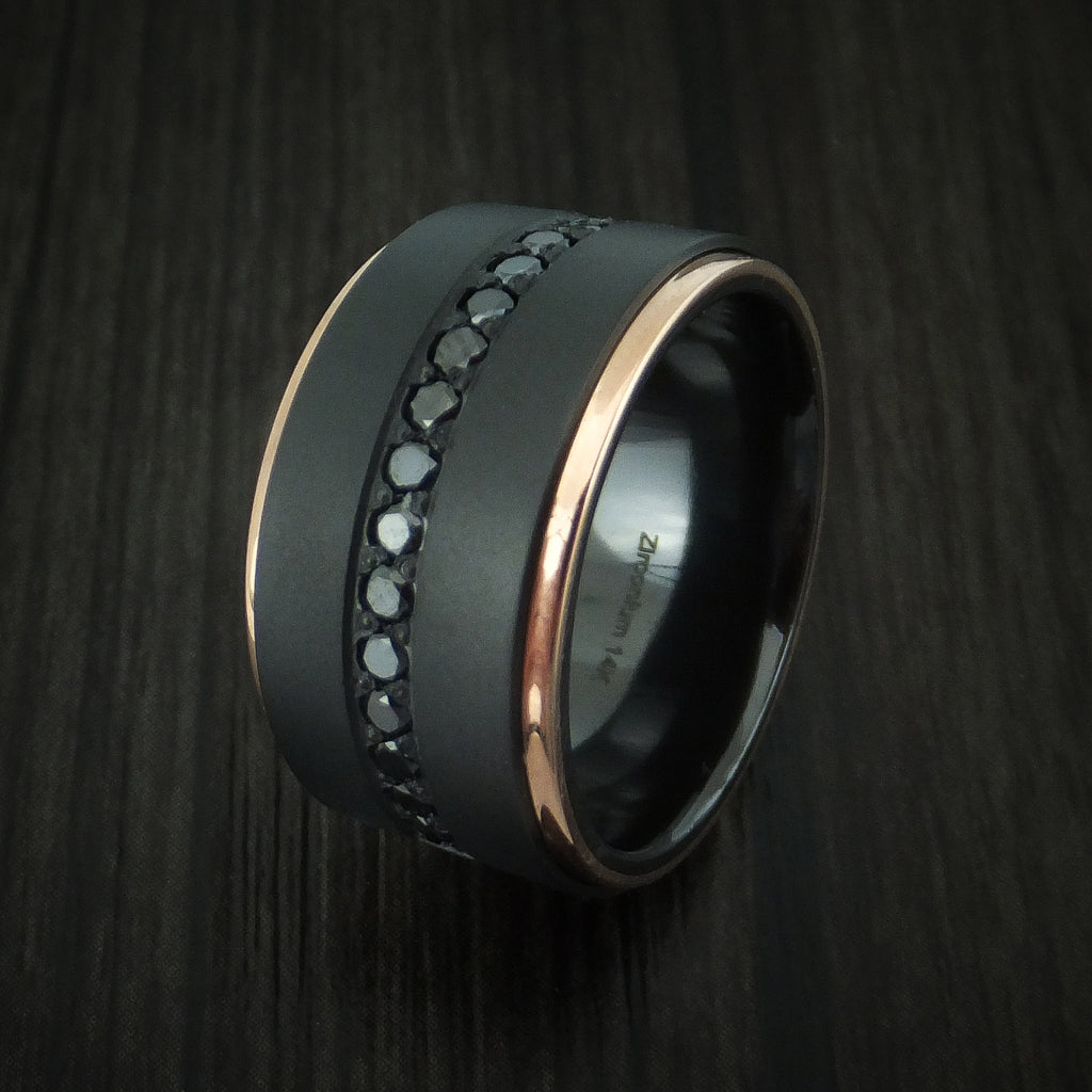 Black Zirconium and 14K Rose Gold Band with Black Diamonds Custom Made Ring