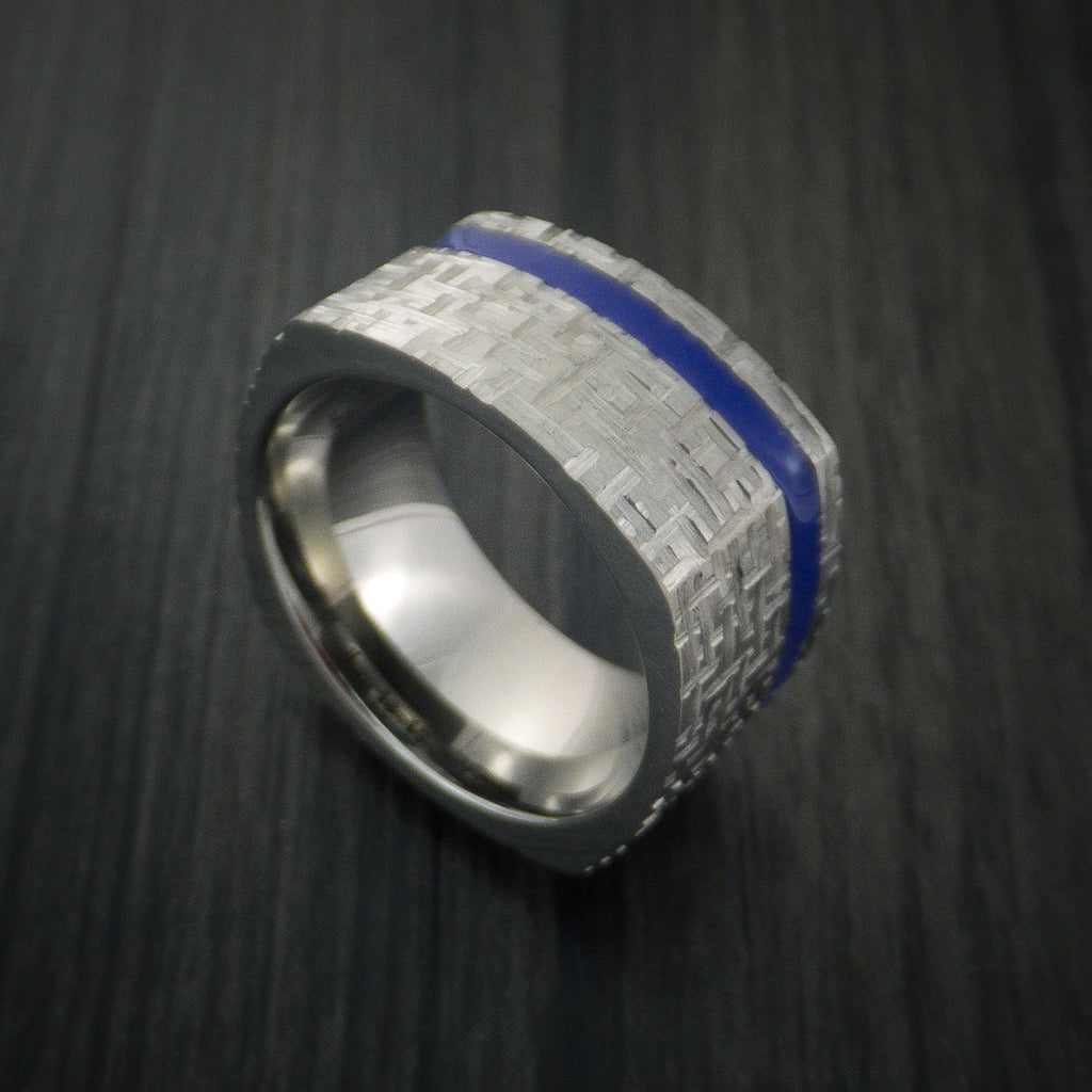 Square Titanium Ring Modern Design Band Custom Made with Comfort Fit Color Inlay - Revolution Jewelry  - 1