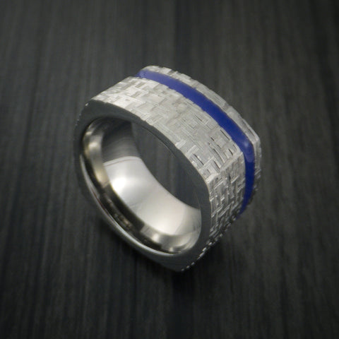 Square Titanium Ring Modern Design Band Custom Made with Comfort Fit Color Inlay