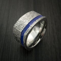 Square Titanium Ring Modern Design Band Custom Made with Comfort Fit Color Inlay - Revolution Jewelry  - 3